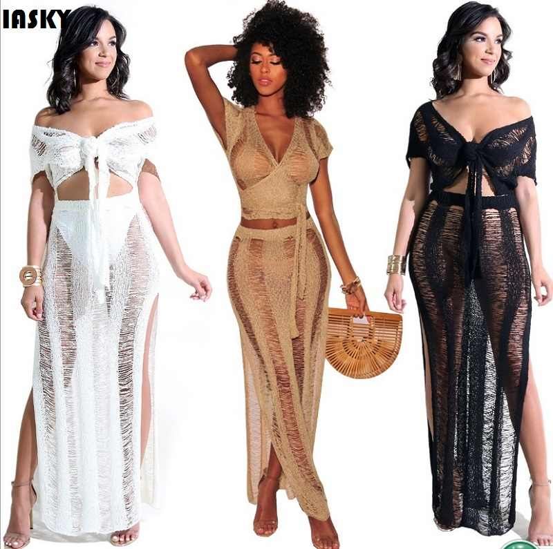 3e00eb8be18c1 IASKY 2PCS Set Sexy Crochet Beach Cover Up Hollow Out Knitted Tassel  Beachwear Swimsuit Swimwear