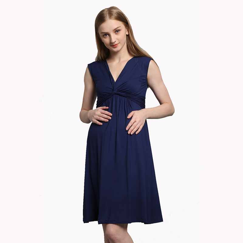Fashion Summer V-Neck Maternity Dress Pregnancy Clothes Knee-Length Sleeveless Dresses for Pregnant Women Loose Size S-3XL stylish jewel neck sleeveless print spliced women s sundress