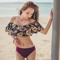 Korean Women Sexy Ruffle Bikini Strapless Off Shoulder Biquini Retro Swimsuit Print Swimwear Bather Bathing Suit
