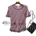 Italian knitting 2017 Summer New Arrival 55%silk 45%cotton Colorful Stripe Double Pocket Comfortable Tops Blouse One Size Blouse