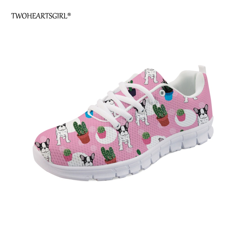 Twoheartsgirl Hipster Fashion Women Spring Summer Flat Shoes Casual Breathable Sneaker Printed Pug Dog Lace Up Mesh Flat Shoes
