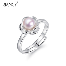 Fashion Flower Pearl Ring Natural Freshwater Pearl Jewelry White,pink,purple,gray,black Rings For Women Wedding Rings Gift white pink purple natural freshwater pearl wedding ring adjustable rings for wife hot sale