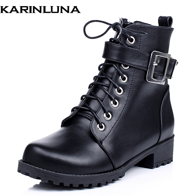 KarinLuna Big Size 34-43 Women Buckle Strap Ankle Boots Vintage Lace Up  Chunky Heels 23cddbf63056