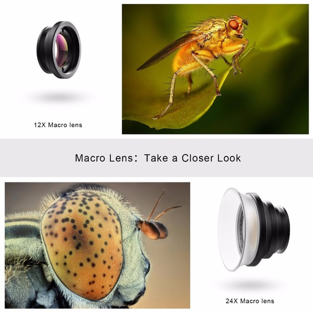 APEXEL  New 2in 1 macro lens 12x/ 24x super macro lens detechable universal clip lens for Xiaomi ios android all smartphone 24XM 4