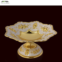 New Elegant Shiny Gold Fruit Dish Flower Dessert Plate Dishes Luxury Europen Plates For Wedding Or Party Putting Fruit 03801