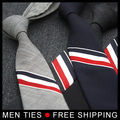 On sale New arrival Design Wool Mens Ties 5cm Men Fashion slim Version Three Color Stripes Wool Gentlemen NeckTies