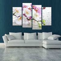 4 Panels White Flowers Plant Art Wall Painting Print On Canvas For Home Decor Ideas Paints