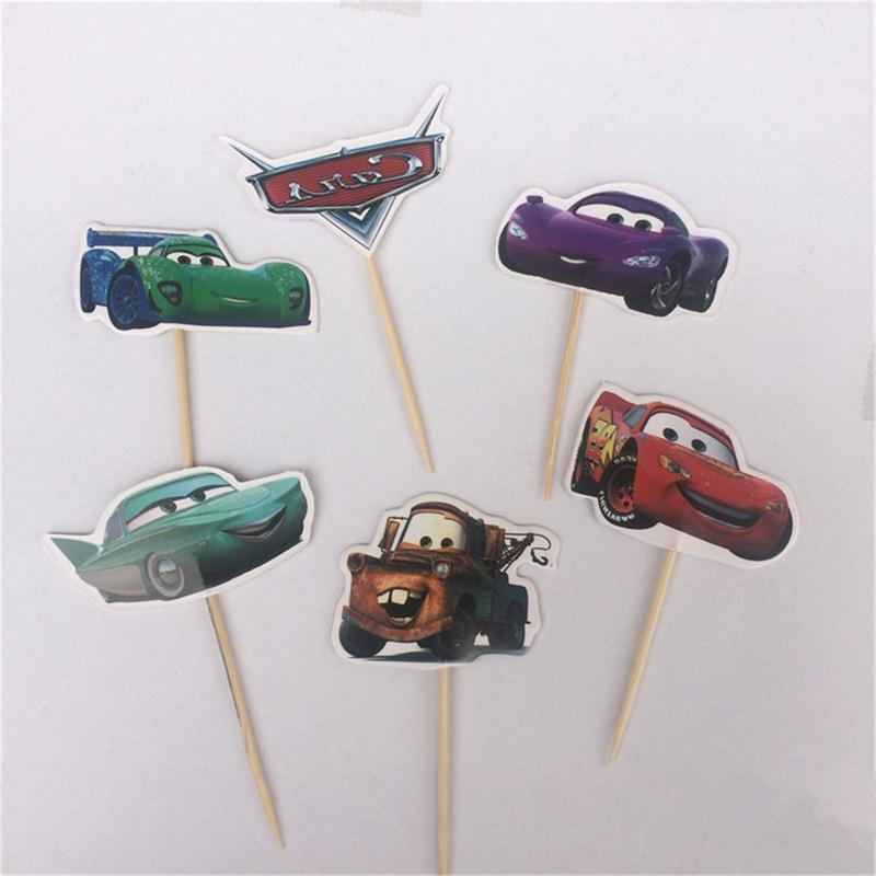 72pcs Cute Car Kids Cupcake Toppers Picks Wedding Cupcake Topper Paper Cake Inserts Card Wedding Cake Topper