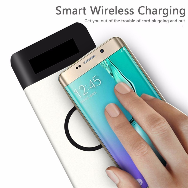 Qi Wireless Charger Power Bank 10000mAh Fast Rechargeable External Battery USB Poverbank Charging Pad For iphone X/Samsung S8