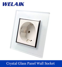 WELAIK EU Wall Socket European Standard Power socket Wall Outlet White Crystal Glass Panel AC 110