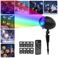 RF Wireless Remote Control Cartoon Projector Lamp LED Decorative Lawn Pin Lamp Halloween Christmas Holiday Decoration Light