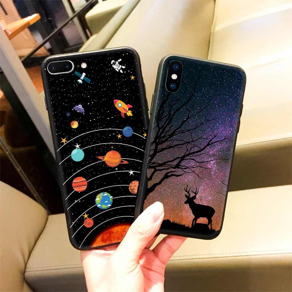 TOMKAS Star Sky Pattern Glass Case For iPhone X 7 8 6 6 s Cover Phone Cases For iPhone 7 8 6 6s Plus X Case Silione TPU PC Coque (21)