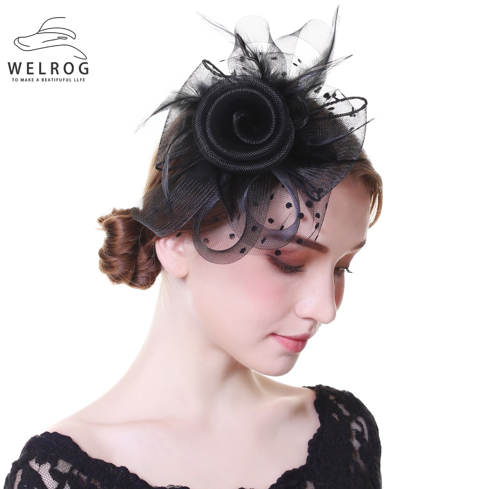 327af285 WELROG Ladies Royal Fascinators Wedding Races Sinamay Cocktail Fascinator  Women Veil Mesh Feather Hat Party Fedora Cap-in Women's Fedoras from  Apparel ...