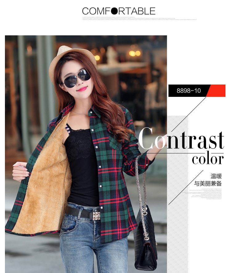 19 Brand New Winter Warm Women Velvet Thicker Jacket Plaid Shirt Style Coat Female College Style Casual Jacket Outerwear 20