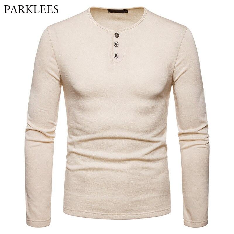Solid Color Long Sleeve Henley T Shirt Men 2018 Autumn New Plus Velvet Slim Fit Button T-shirt Male Casual Tee Shirt Homme XXL