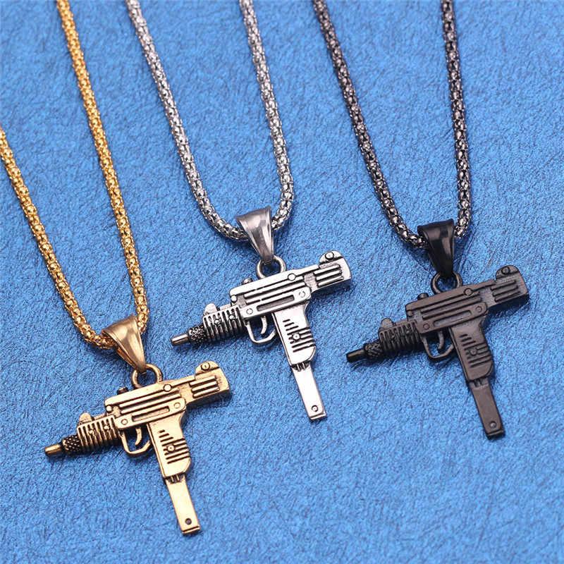 UZI Kolye Gun kształt naszyjnik dla mężczyzn Hip Hop biżuteria złoty/czarny kolor armia 2019 Fashion Style mężczyzna Chain naszyjniki