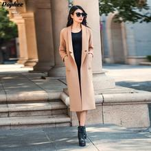 2017 New Fashion Medium Long Woolen Trench Coats Women's Plus Size Open Stitch Wool Jakcets With Long Sleeves