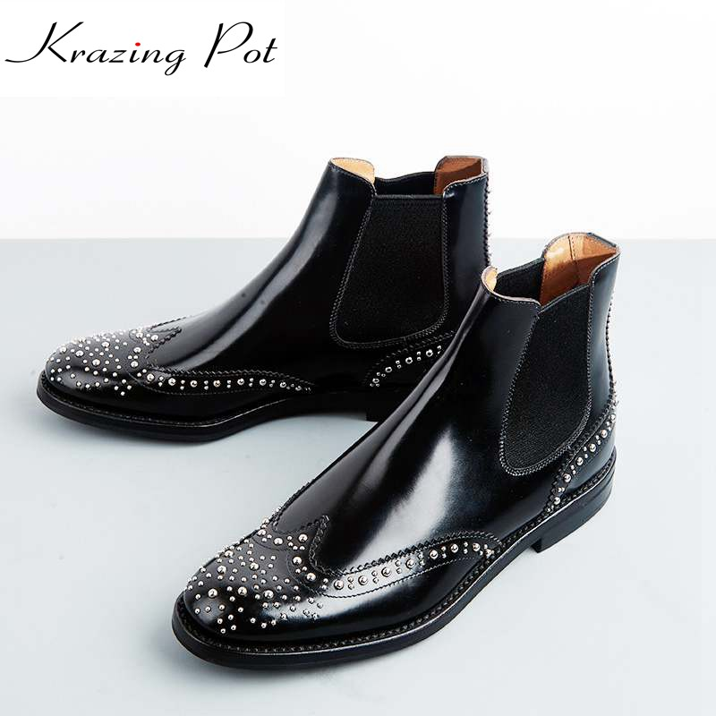 Krazing Pot cow leather low heels gladiator round toe rivets Hollywood British school Chelsea boots streetwear ankle boots L81 krazing pot cow leather low heels gladiator round toe hollywood european chelsea boots plus size streetwear nude boots l83