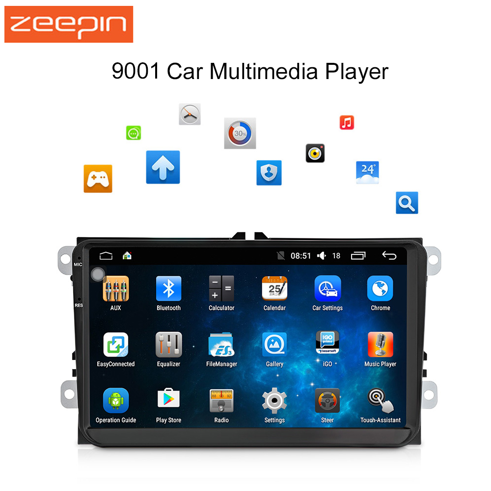 Android 6 0 9 inch Car Multimedia Player for VW Mirror Link Bluetooth 2 din Music