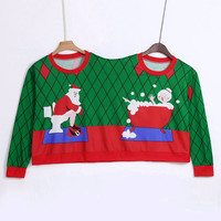 Two Person Long Sleeve Winter Sweatshirt Unisex Couples Pullover Novelty Christmas Blouse O Neck clothes sudaderas para mujer