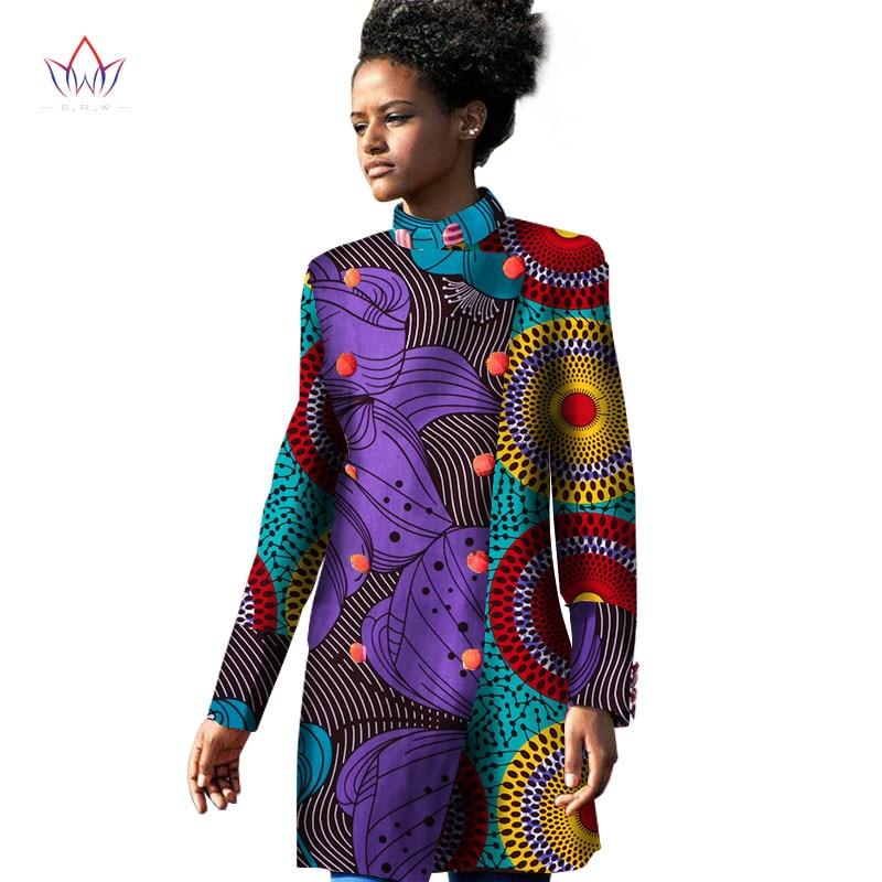 2017 printemps traditionnel africain femmes Trench Coat africain Trench manteau pour les femmes à manches longues imprimé coton Oversize 6XL BRW WY1137