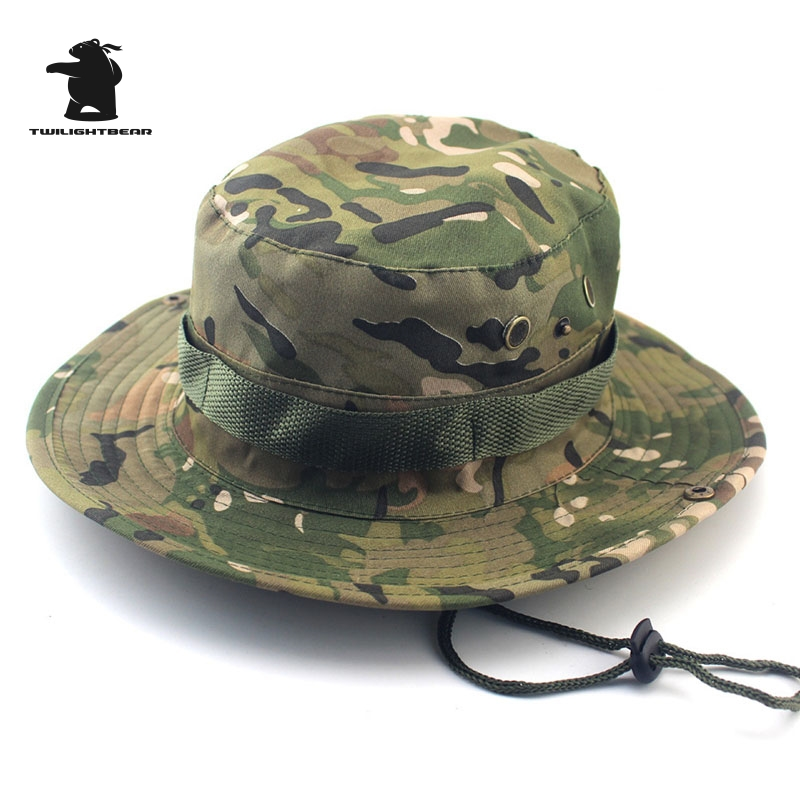 MULTICAM HAT ARMY BOONIE HAT 26 Colors Military Camouflage Bucket Hats Hunting Hiking Fishing Climbing Cap HY23