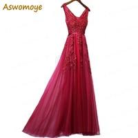 Aswomoye Sexy Backless Evening Dress Long 2018 Party Dresses V-Neck Prom Dress Beaded Appliques Custom Size robe de soiree Evening Dresses