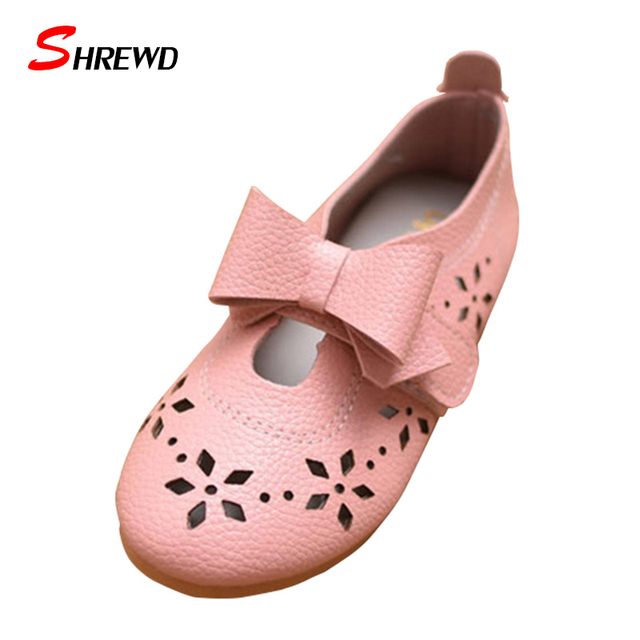 Shoes Children Girls New Spring 2017 Fashion Hollow Bow Party Shoes Kids Girls Cute Pure Kids Shoes Insole 15.7-18.3cm 9597W