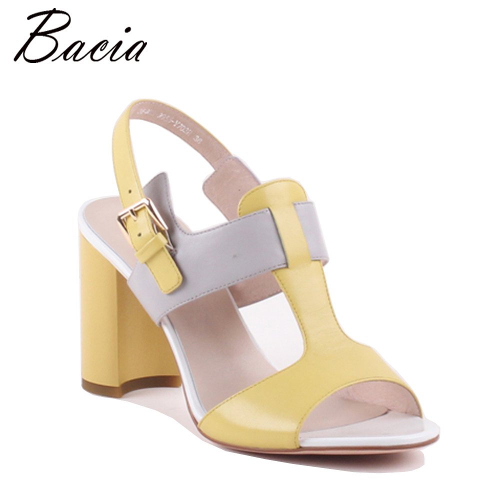 Bacia Women Genuine Leather Sandals Fashion Women Hoof Heel Sandals Gril Mixed Colors Shoes Ladies Sandals Girls Floral MXA009