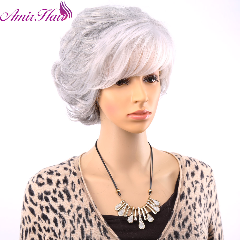 Amir Hair Short Curly Wigs For Old Women White Gray Ombre Hair With Bangs 3 Styles Choose Free Wig Net and Shipping