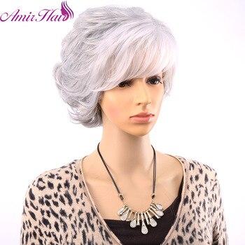 Amir cheveux courts bouclés perruques pour les vieilles femmes blanc gris Ombre cheveux avec frange cheveux synthétiques pleine perruque Cosplay