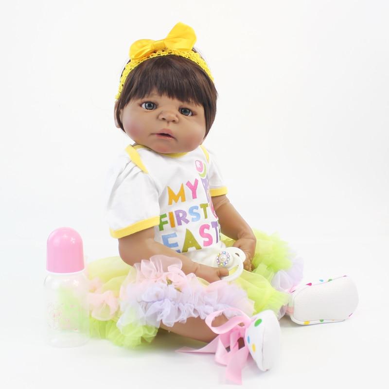 55cm Full Silicone Body Black Skin Baby-Reborn Doll Toy Newborn Princess Toddler Babies Girl Bonecas Kid Bathe Toy Fashion Gift