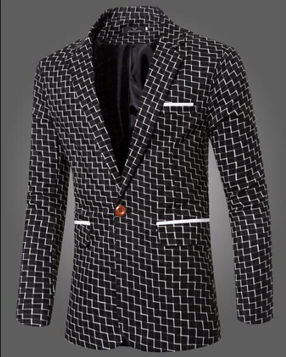 Man chun dong han edition business new high-quality goods leisure fashion personality big yards grid one-button suit jacket M-3L