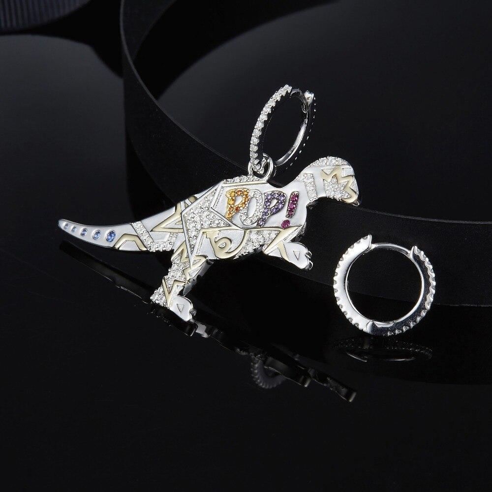 MeiBaPJ 925 Sterling Silver Multicolor Dinosaur Cubic Zirconia  Asymmetric Pop Rexy Dino Earrings Women  April New JewelryDrop  Earrings