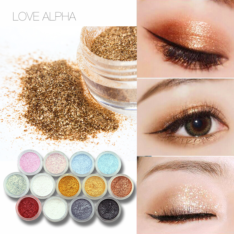 KÄRLEK ALPHA 13 Färger Ögonskugga Flash Pulver Super Bright Pearl Shining Bright Glitter Pulver Rosa Diamond Märke Makeup