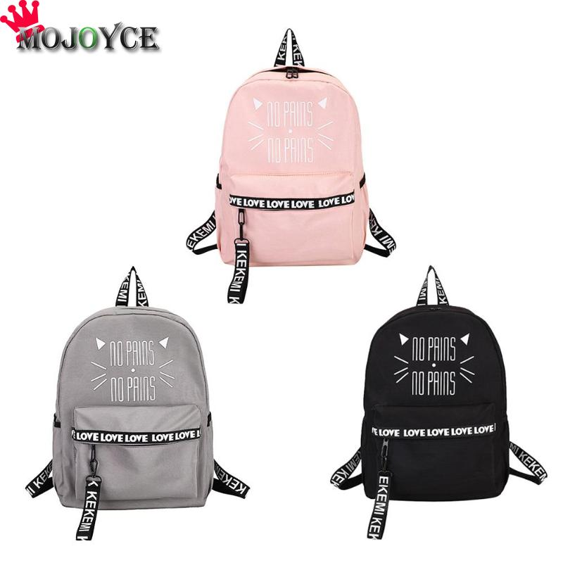 Cat Letters Printing Backpacks School Bags Women Nylon Teenager Girls Students Book Travel Shoulder Bags Mochila