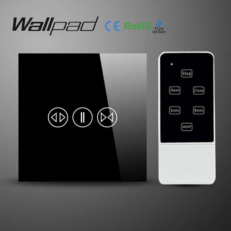 ФОТО Wallpad Luxury Black Galss Panel UK EU Type 50Hz~60Hz Remote Control Electric Touch Curtain Blind Wall Switch With LED indicator