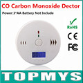 Free Shipping 100pcs/lot New CO Detector with LCD Display Gas Poisoning Smoke sensor Warning CO Carbon Monoxide Alarm Sensor