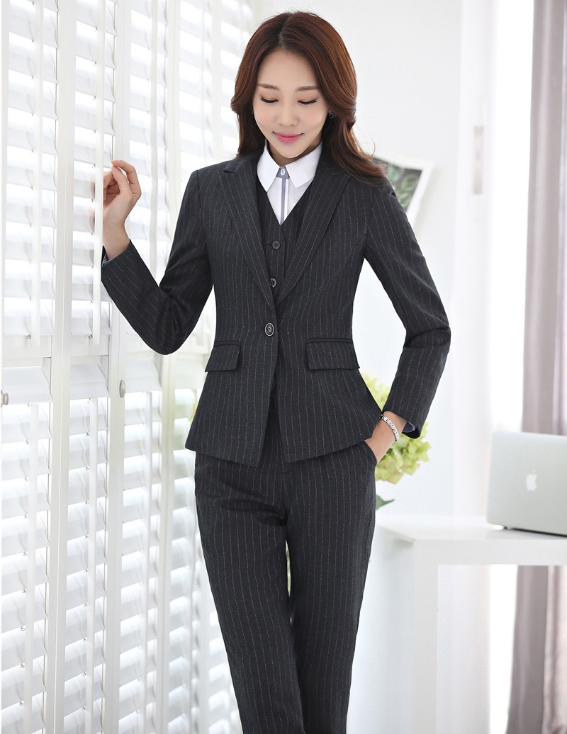 3 Piece Waistcoat Pant And Jacket Sets Formal Women Business Suits Blue Striped Blazers Vest Ladies Work Wear Uniforms Suits & Sets