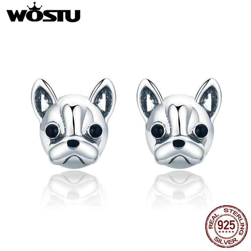WOSTU 100% 925 Sterling Silver Loyal Partners French Bulldog Dog Animal Small Stud Earrings for Women Oorbellen Jewelry CQE283