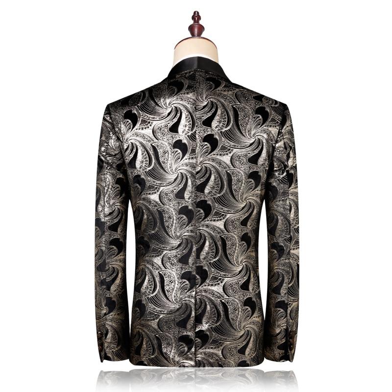 Argent M Hommes Mens Avec Fit Pantalon Costumes Automne De Slim Imprimé Vestes Pantalon Blazer veste Ensembles 2019 Mode Nouveau Un Conçu 5xl nq1IWBxOH