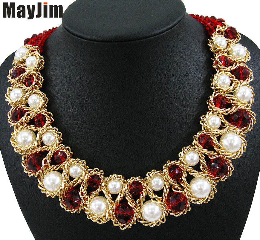 Detail Feedback Questions about Statement Fashion Necklace for Women 2018  Vintage Collar Gold Chain Big Bead pearl Crystal Choker Necklaces   Pendants  ... 5a3f678df992