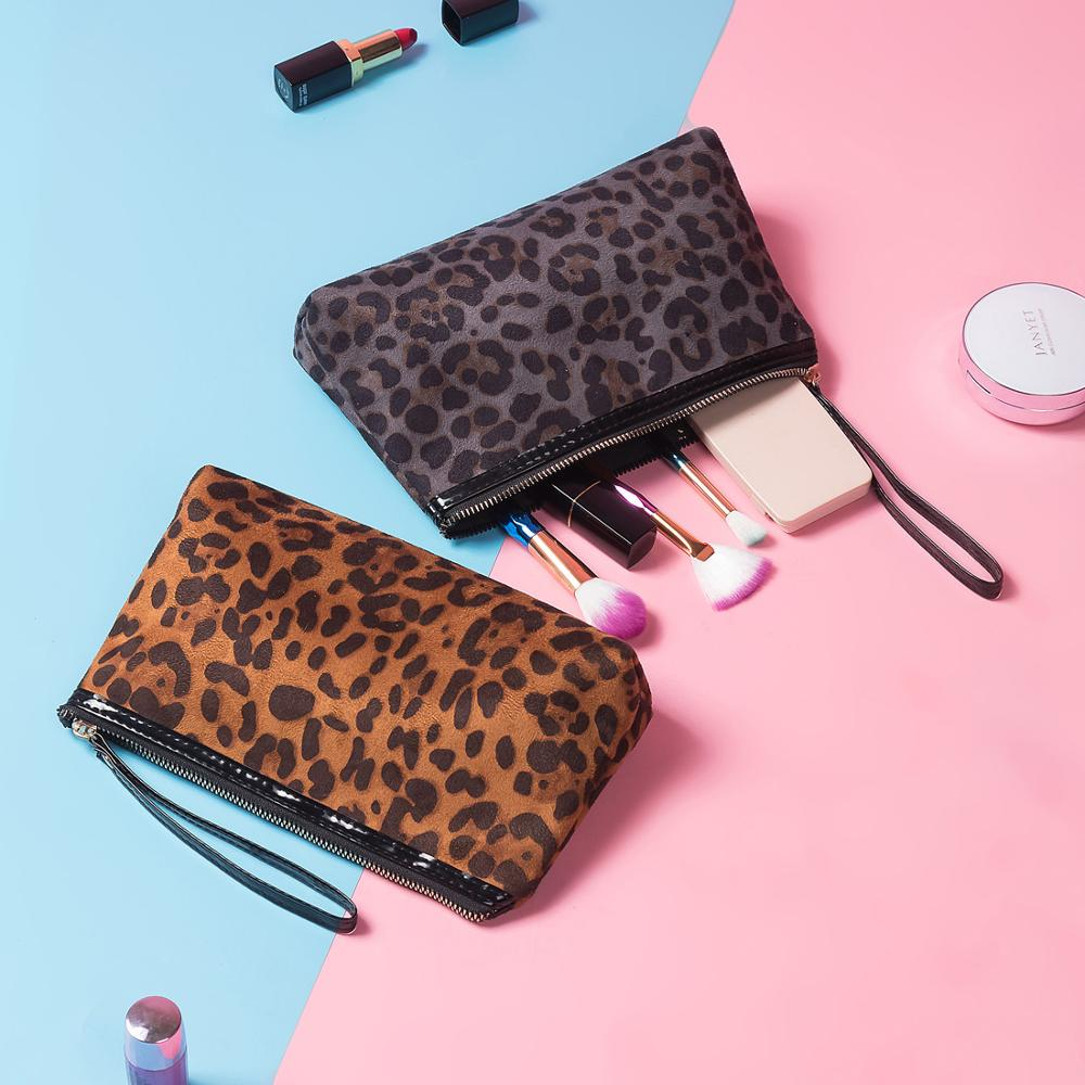 Miyahouse Leopard Printed Cosmetic Bag Women Makeup Pouch Suede Travel Organizer Storage Pouch Lady Toiletry Wash Bags