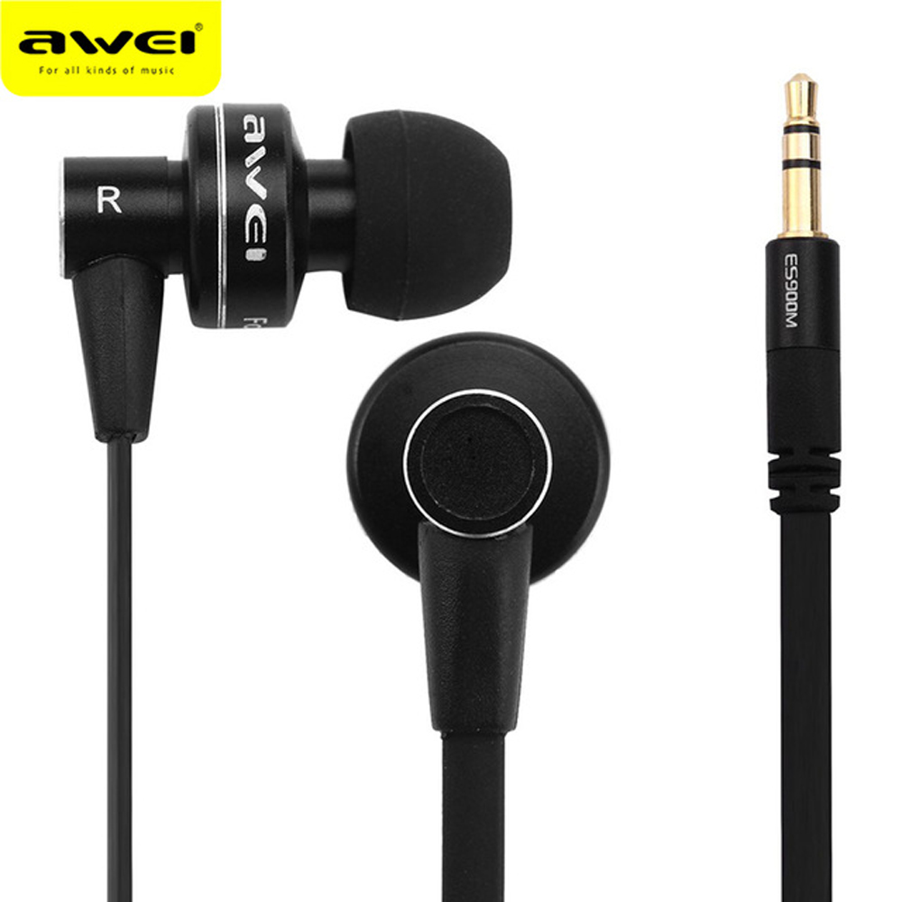 Awei ES900M Stereo Sport Headphone Headset In-ear Earphone For Your In Ear Phone Buds iPhone Samsung Earbuds Earpiece Sluchatka awei wired stereo headphone with mic microphone in ear earphone for your in ear phone buds iphone samsung player headset earbuds