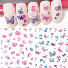 New arrived Fashion Water Decals Nail Art Stickers colorful butterfly flower Nails Sticker Decorations Manicure Z0138