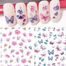 Pegatinas de agua para uñas, adhesivos artísticos coloridos con mariposas y flores de uñas, para manicura Z0138