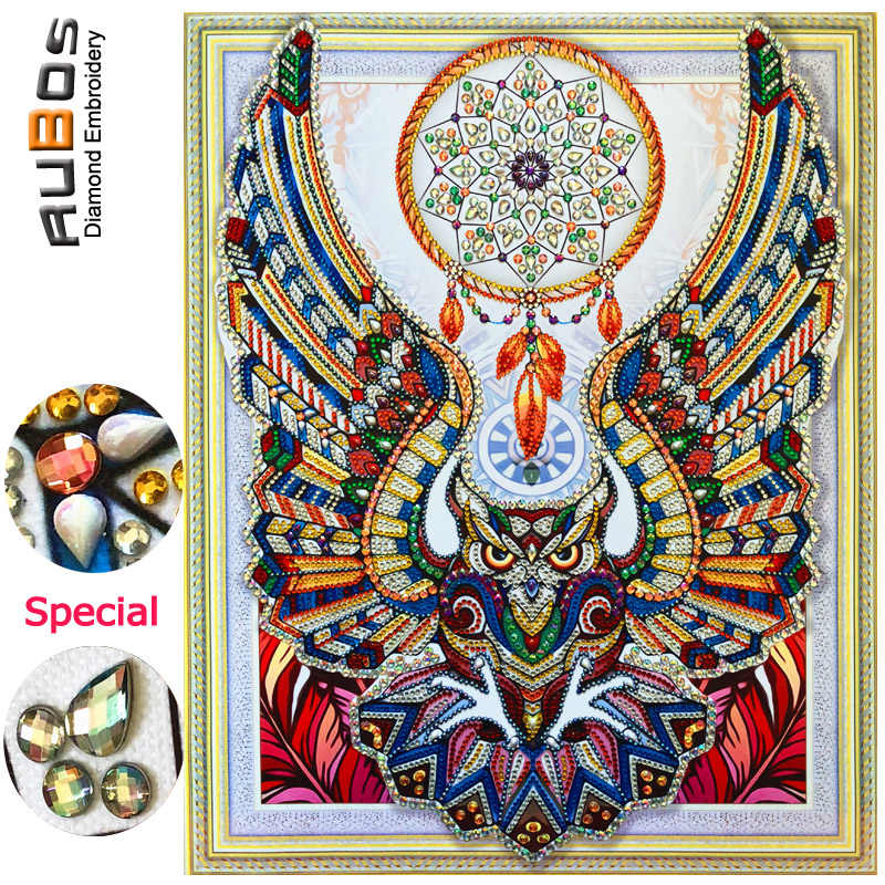RUBOS DIY 5D Diamond Embroidery  Dreamcatcher Owl Diamond Painting Sale 3D Crystal Picture Rhinestone Pearl Partial Wall Sticker