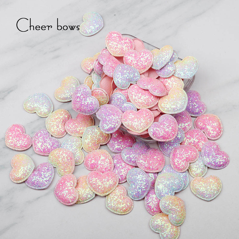 Cheer Bows Rainbow Appliques Heart Patches For Hair Clip Decor Padded Patches For DIY Crafts Clothes Headwear Hat Accessories