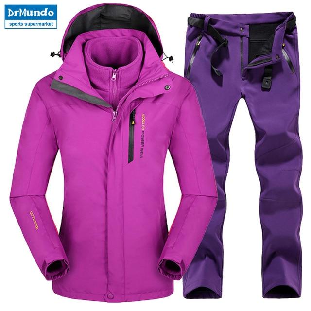 6afe0fbf4 Plus Size Mountain Skiing Ski-wear Waterproof Hiking Outdoor jacket  Snowboard jacket Ski suit Women Large Size Snow jackets