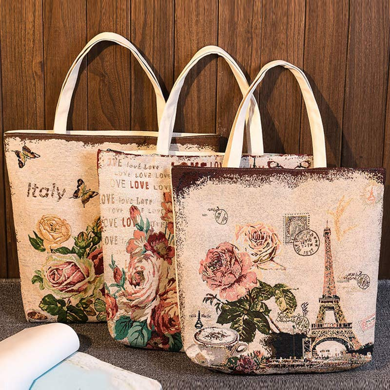 Fashion Women Canvas Tote Floral Tower Printed Handbag Summer Beach Bag Girls Embroidery Shoulder Bags BS88 luxury chinese style women handbag embroidery ethnic summer fashion handmade flowers ladies tote shoulder bags cross body bags